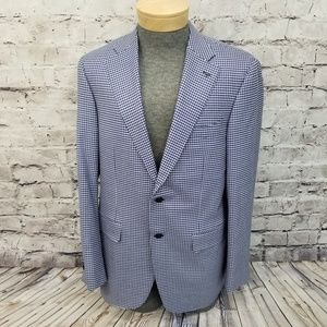 Canali 54L Houndstooth Blazer Gray Blue Career Cas